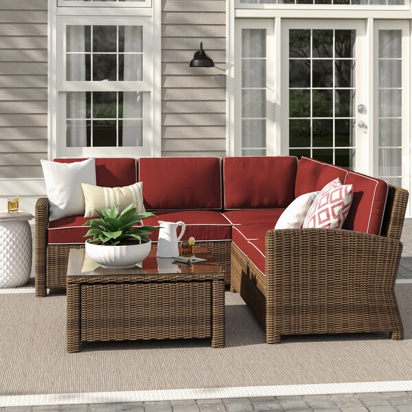 Lawson All Weather Wicker Rattan 4 Person Seating Group Reviews Birch Lane