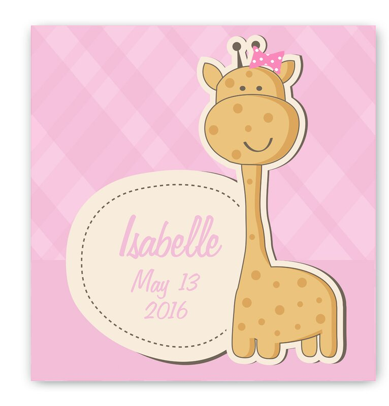 Personalized Baby Nursery Girl Giraffe Canvas Art