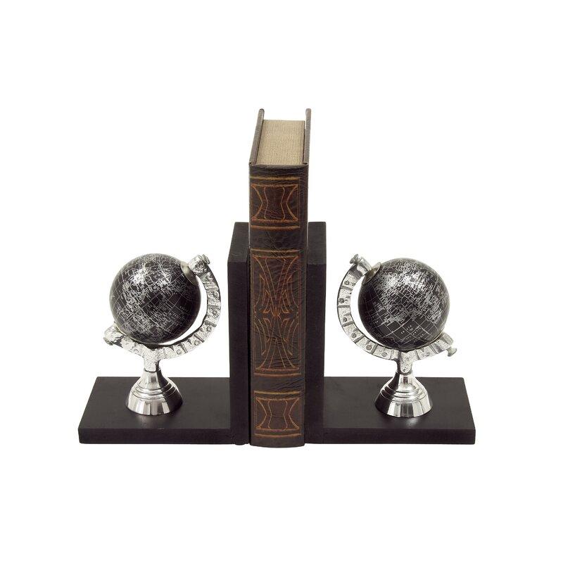 Wood/Aluminum Globe Book Ends