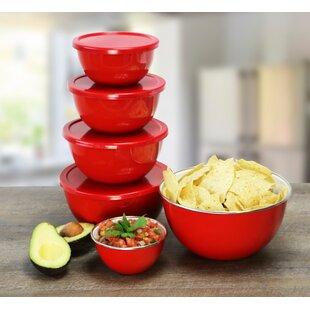 Calypso Basics 12 Piece Bowl Set in Red