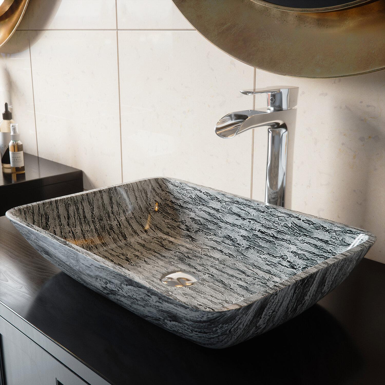 Titanium Glass Rectangular Vessel Bathroom Sink With Faucet