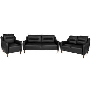 Velazquez Upholstered Bustle Back 3 Piece Living Room Set by Ebern Designs