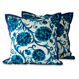 Dahlias Floral Embroidered Cotton Pillow Cover (Set of 2)