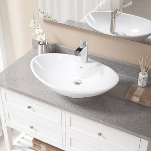 Clearance Vitreous China Oval Vessel Bathroom Sink with Faucet and Overflow ByMR Direct
