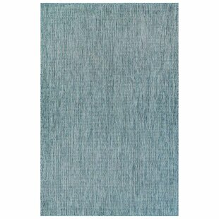 Desantiago Texture Stripe Blue Indoor/Outdoor Area Rug