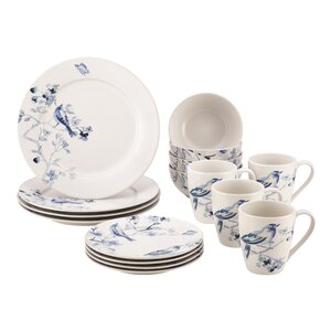 Indigo Blossom Stoneware 16 Piece Dinnerware Set, Service for 4
