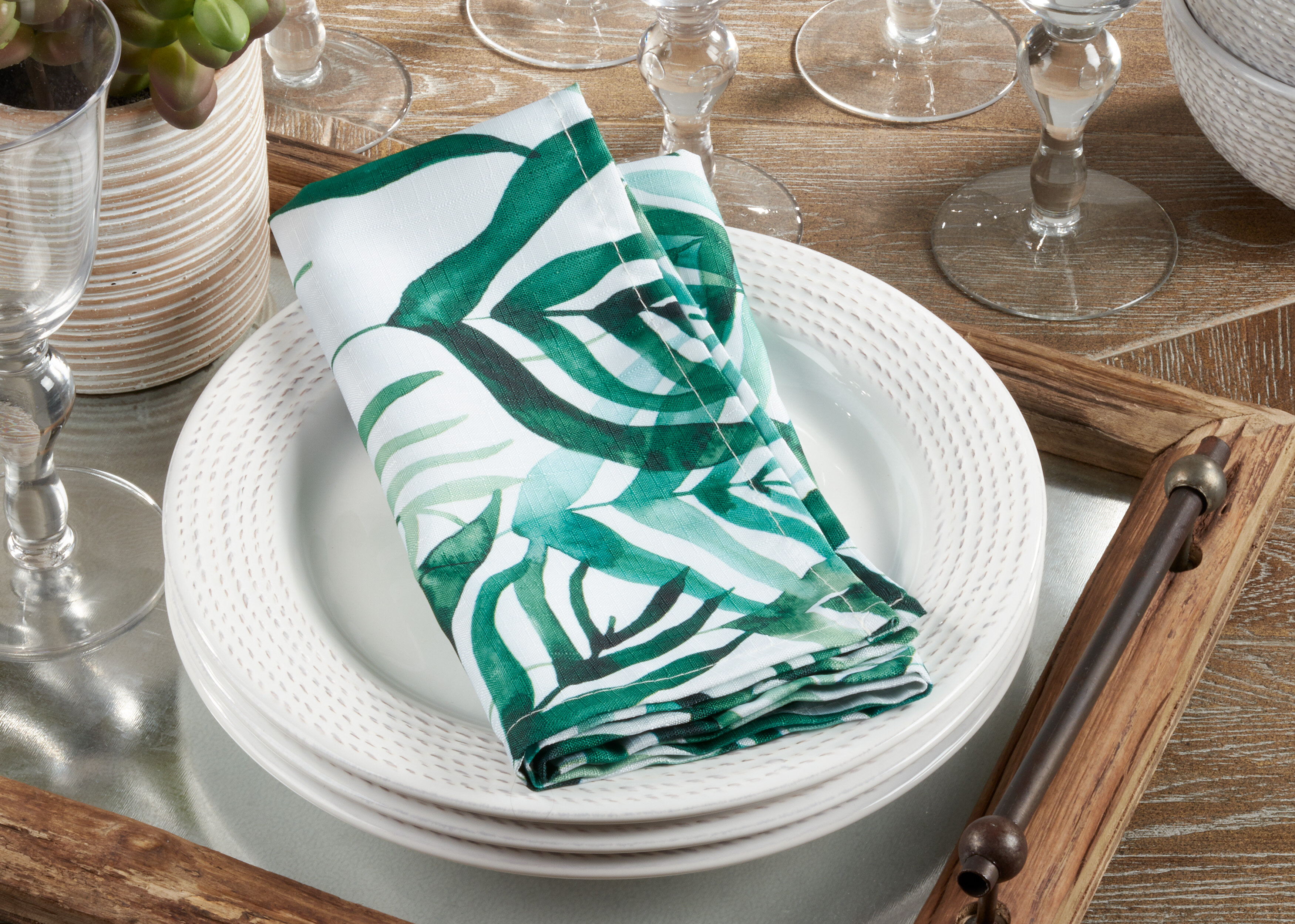 Saro Rainforest Design Napkins Set Of 12 Wayfair