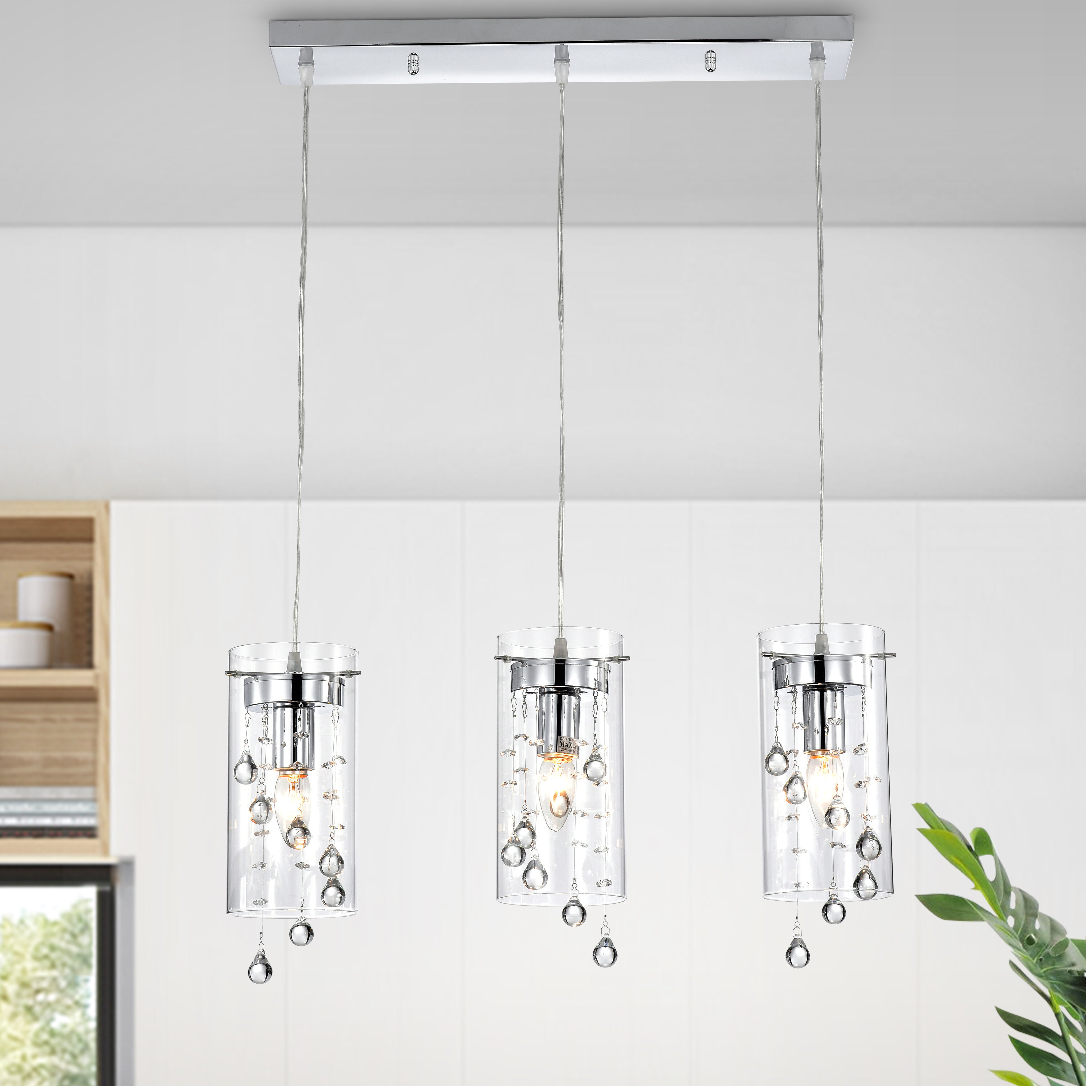 Isabel 4 - Light Kitchen Island Cylinder Pendant with Crystal Accents