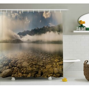 Natalie Alpine Lake With Stones Rocks Single Shower Curtain