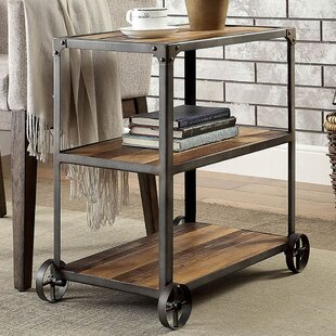 Williston Forge Maureen Industrial End Table with Caster Wheels