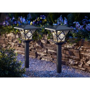 Premium Output Solar Powered Plastic 1 Light LED Pathway Light (Set of 4)