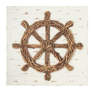 Driftwood Ship Wheel Plaque Wall Decor