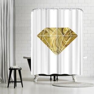 East Urban Home Lebens Art Liquid Gold Diamond Shower Curtain