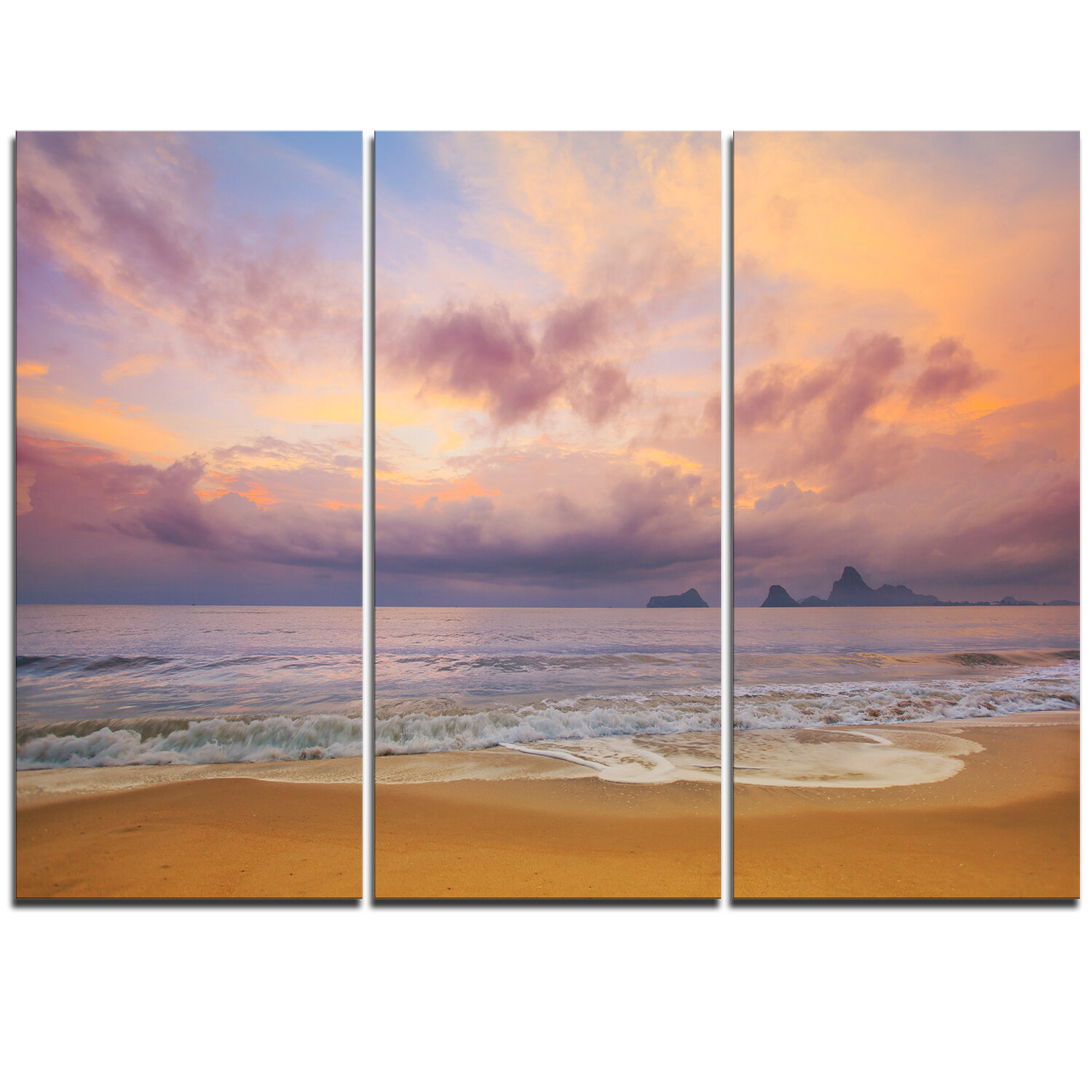 Designart Bright Morning Over The Sea 3 Piece Graphic Art On Wrapped Canvas Set Wayfair