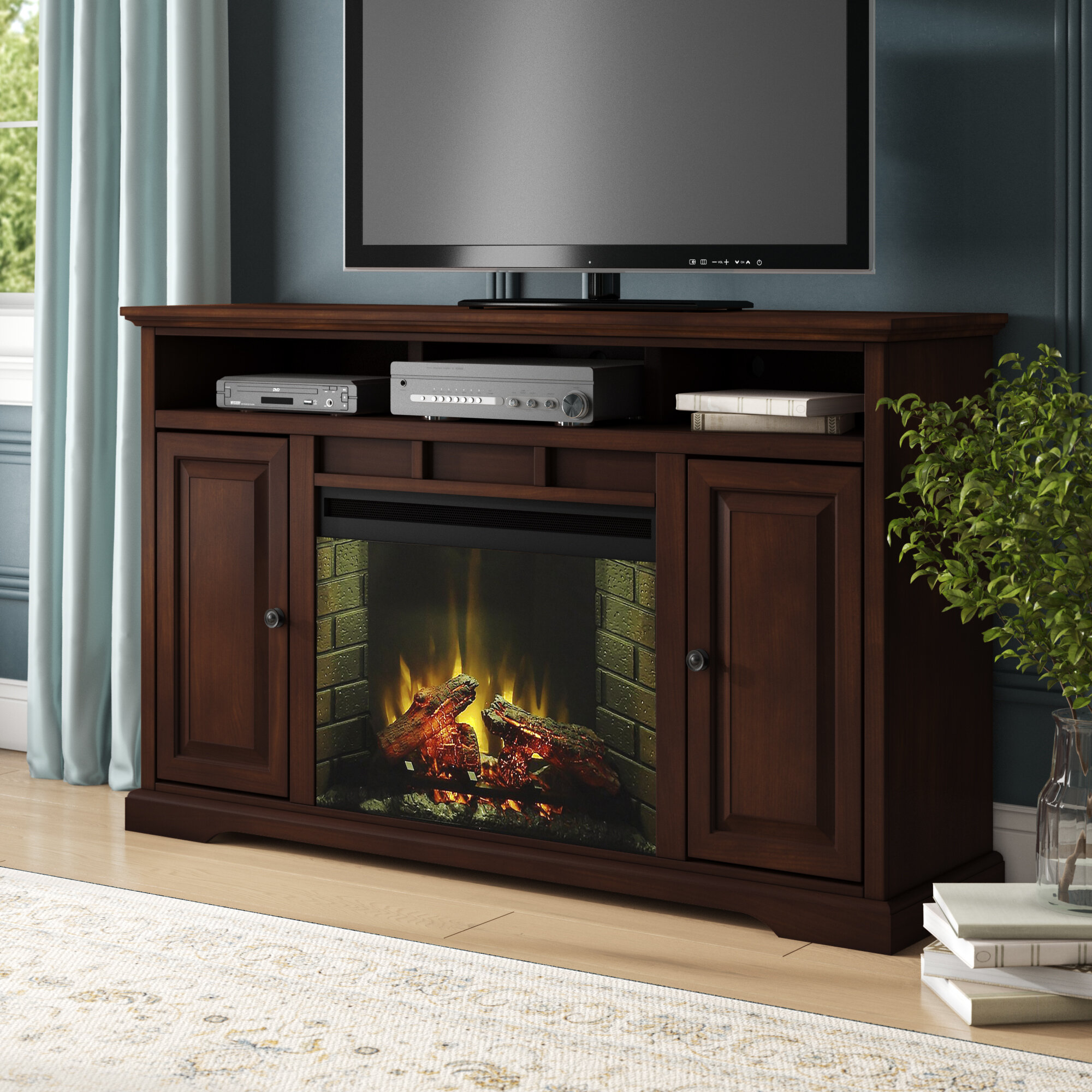 Darby Home Co Legrand Tv Stand For Tvs Up To 70 With Electric Fireplace Included Reviews