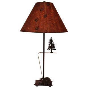 Celia Iron with Walking Bear and Pine Tree 33 Table Lamp