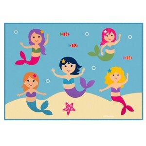 Olive Kids Mermaids Blue Area Rug