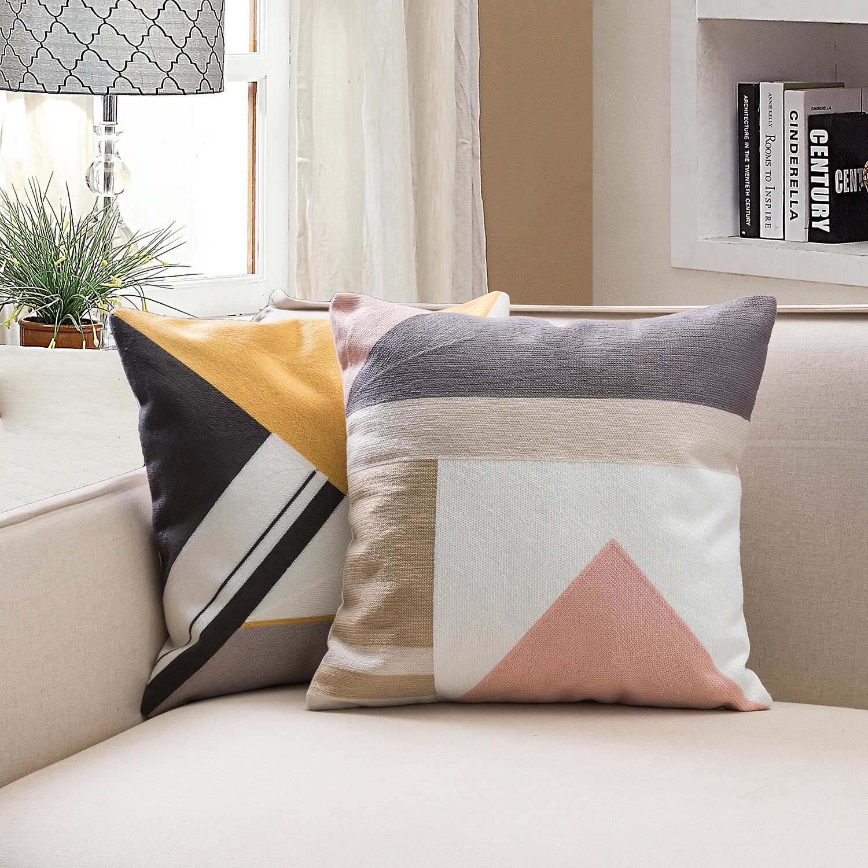 Ivy Bronx Rabinowitz 2 Piece Embroidered Cotton Geometric 18 Throw Pillow Cover Set Reviews Wayfair