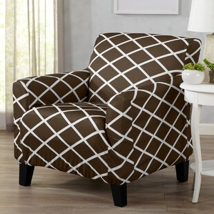 Form Fitting Stretch Diamond Printed T-cushion Armchair Slipcover