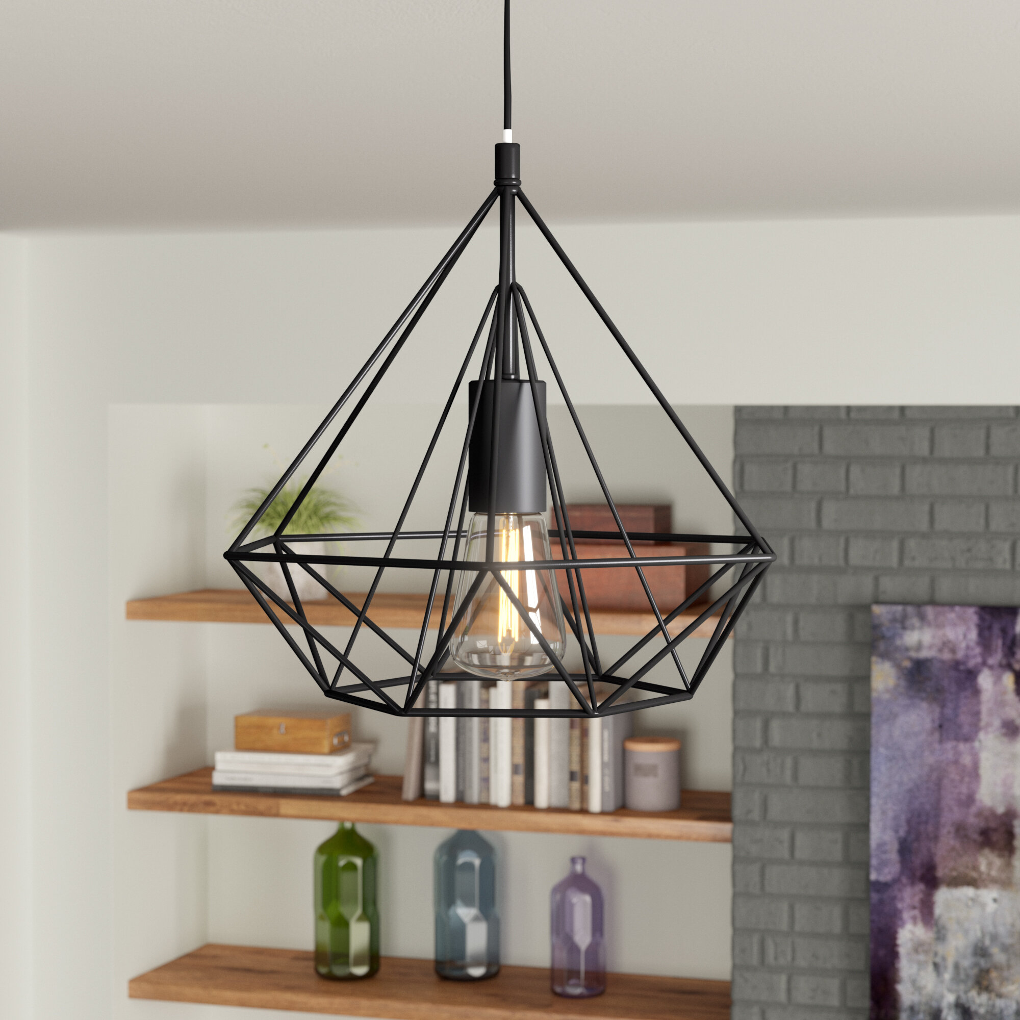 Wrought Studio Modlin 1 Light Single Geometric Pendant Reviews Wayfair Ca