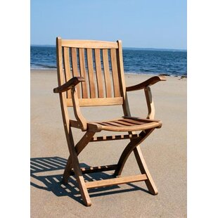 Bullock Folding Teak Patio Dining Arm Chair (Set of 2)