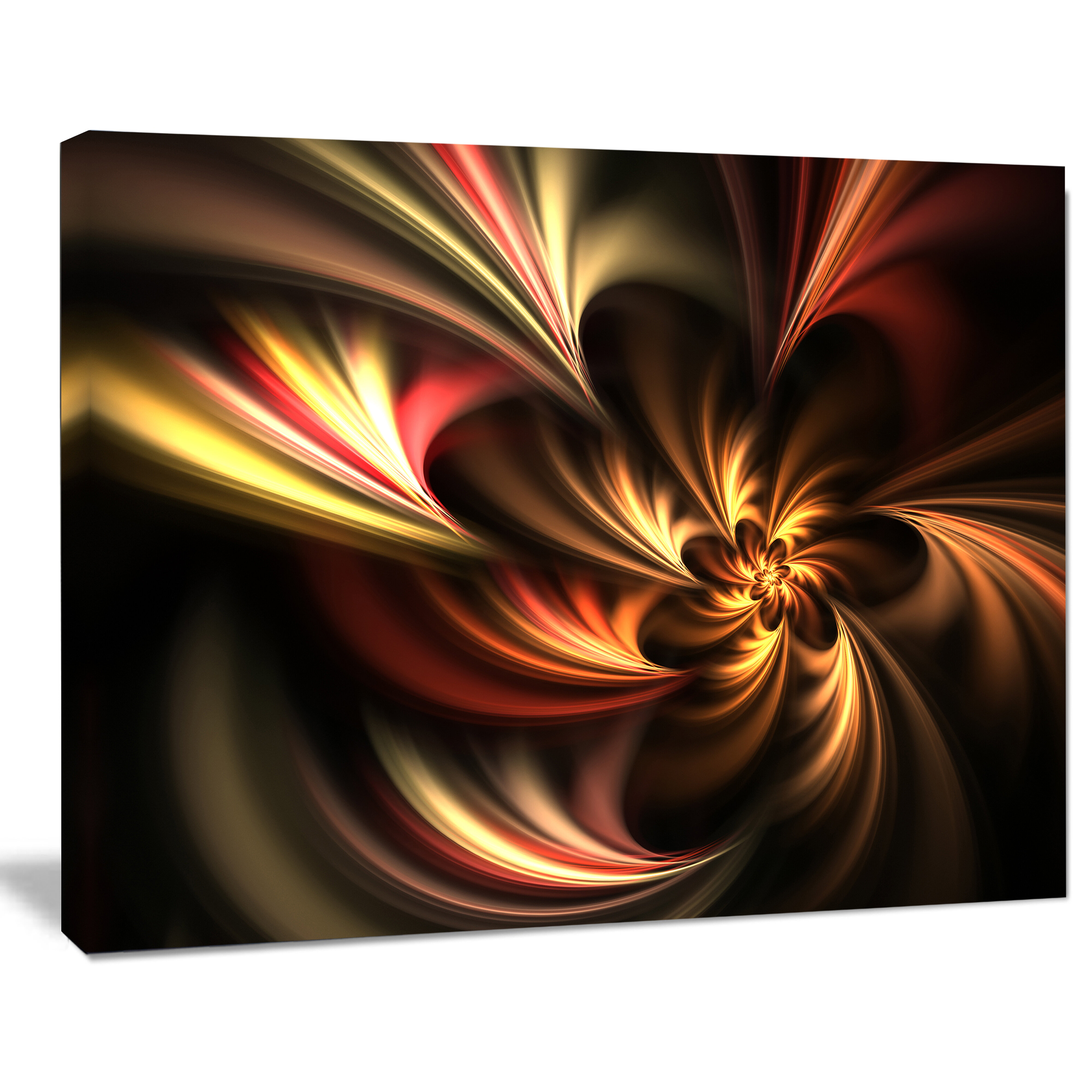 Designart Glossy Yellow And Red Fractal Flower Graphic Art On Wrapped Canvas Reviews Wayfair