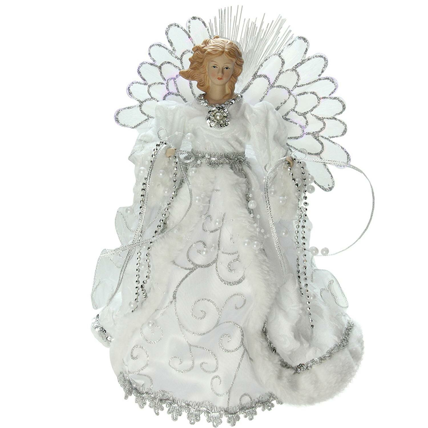 Northlight Lighted B O Fiber Optic Angel With Gown Christmas Tree Topper Reviews Wayfair