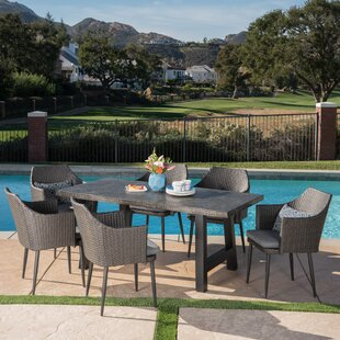 17 Stories Dossantos Outdoor 7 Piece Dining Set with Cushions