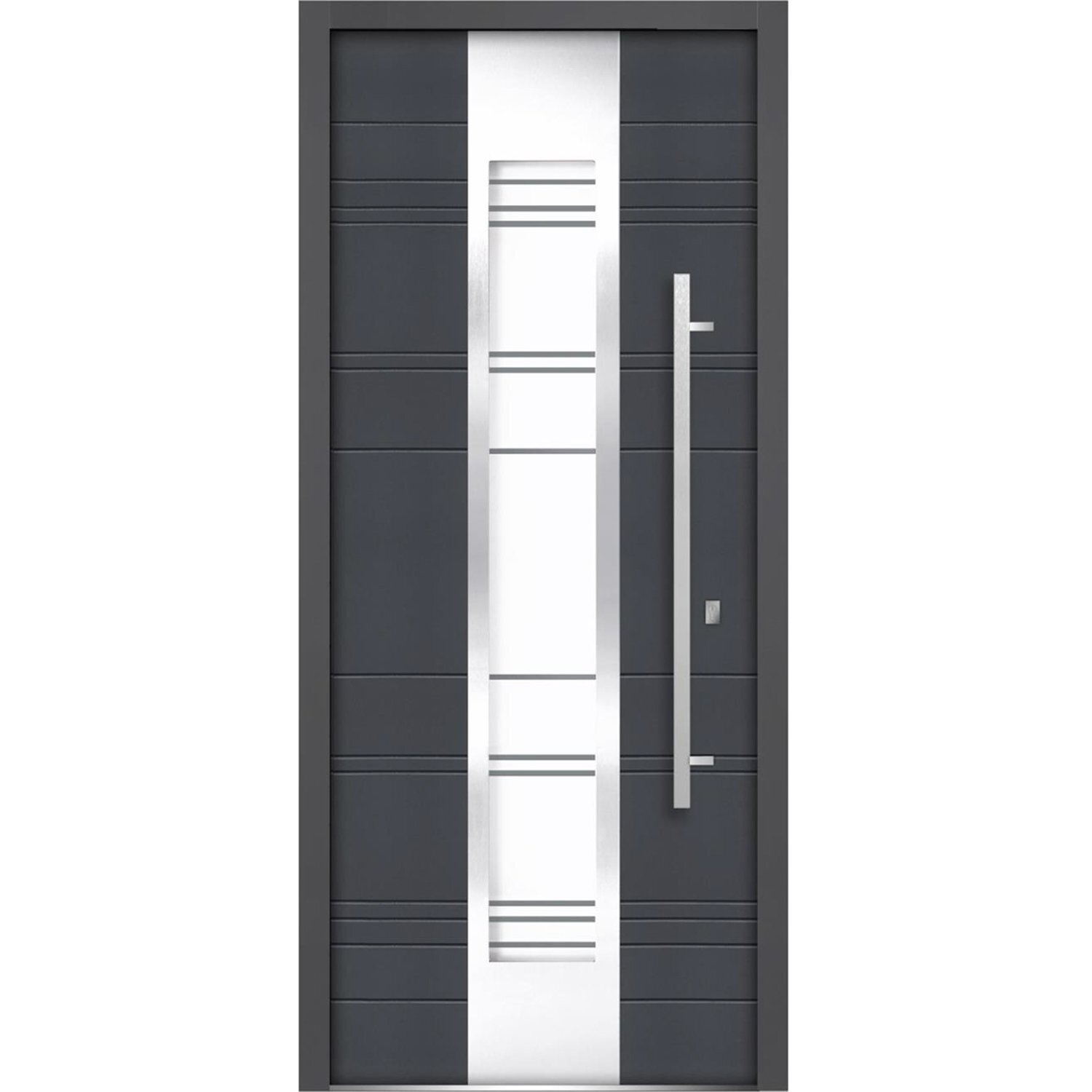 Vdomdoors Front Exterior Prehung Frosted Glass Steel Door 36 X 80 Inches Right Hand Inswing Deux 0757 Gray Graphite Lite Inserts Single Modern Painted Wayfair
