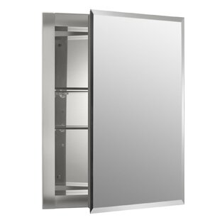 16 X 20 Recessed Frameless Medicine Cabinet With 2 Adjule Shelves