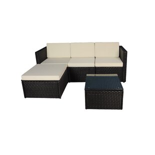 Faught 3 Piece Rattan Sectional Set with Cushions