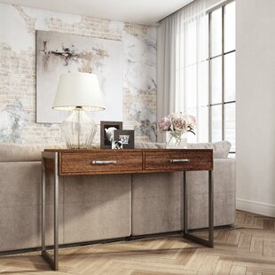 Laroche Heavily Distressed Rustic Style 2 Drawers Storage Console Table by Union Rustic