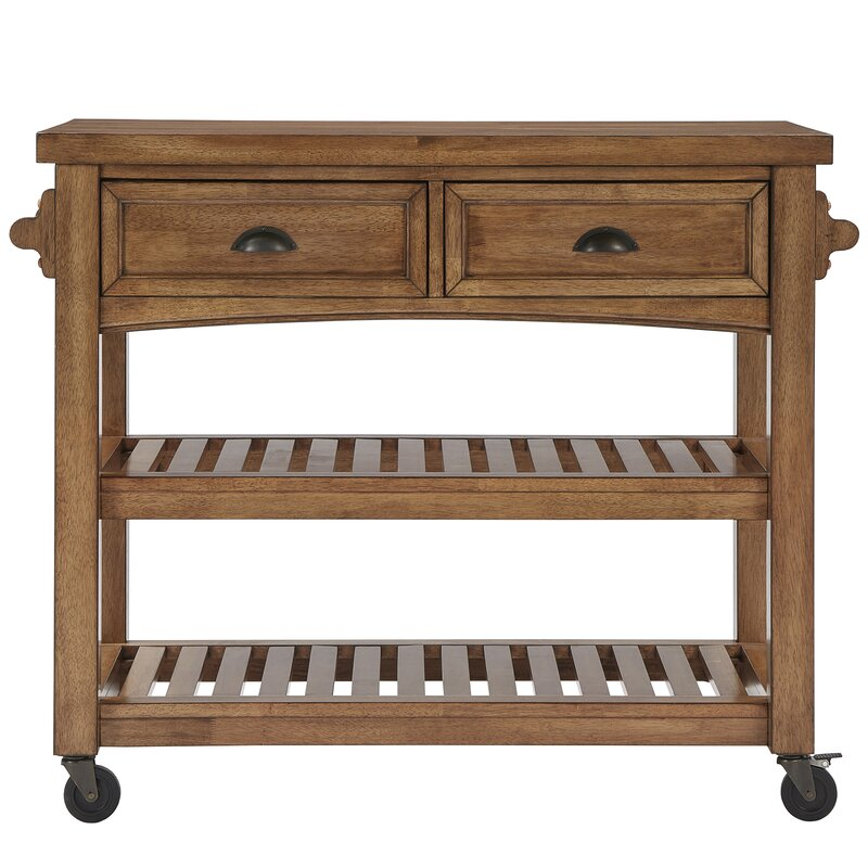 three posts fortville kitchen cart with wood & reviews   wayfair
