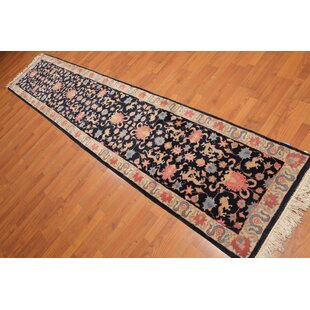 Bargain One-of-a-Kind Emilee Traditional Persian Hand-Knotted 2'6 x 12' Wool Black/Ivory/Beige Area Rug By Isabelline