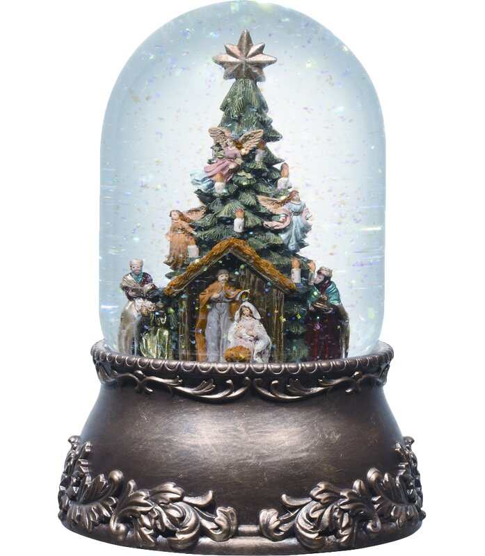 Dome Shaped Snow Globe with Wooden Base