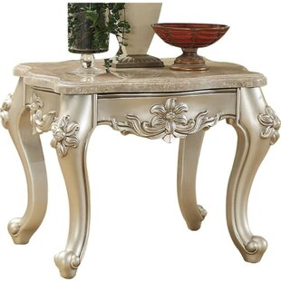 Brecken Marble Top Flower Motif Engraved Angular Wood Feet End Table by Astoria Grand