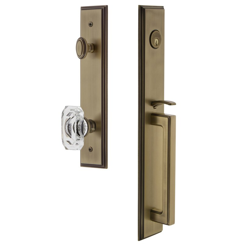 Handleset with Single Cylinder Deadbolt and Baguette Crystal Door Knob and Rosette. #handleset #vintagebrass #entryset #doorhardware #hardware