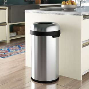 16 Gallon Bullet Open Trash Can, Heavy-Gauge Brushed Stainless Steel