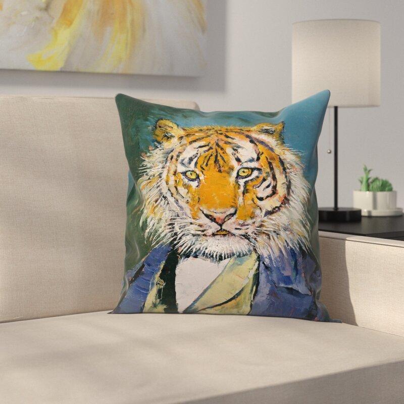 East Urban Home Gentleman Tiger Throw Pillow Wayfair