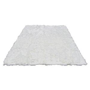 Rashud Soft and Plush Shag Faux Sheepskin White Area Rug