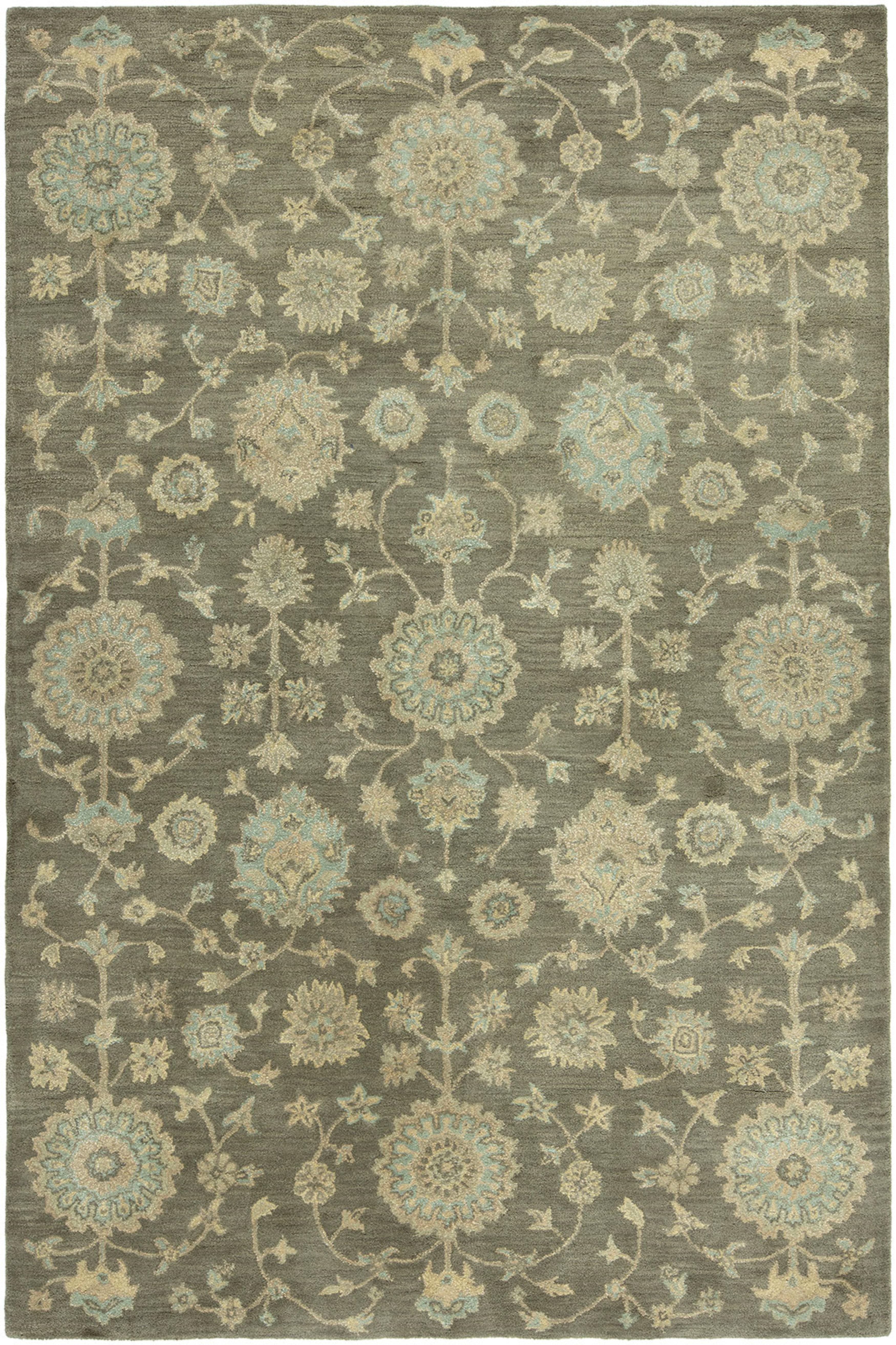Charlton Home Gravette Floral Handmade Tufted Wool Mineral Blue Area Rug Wayfair Ca