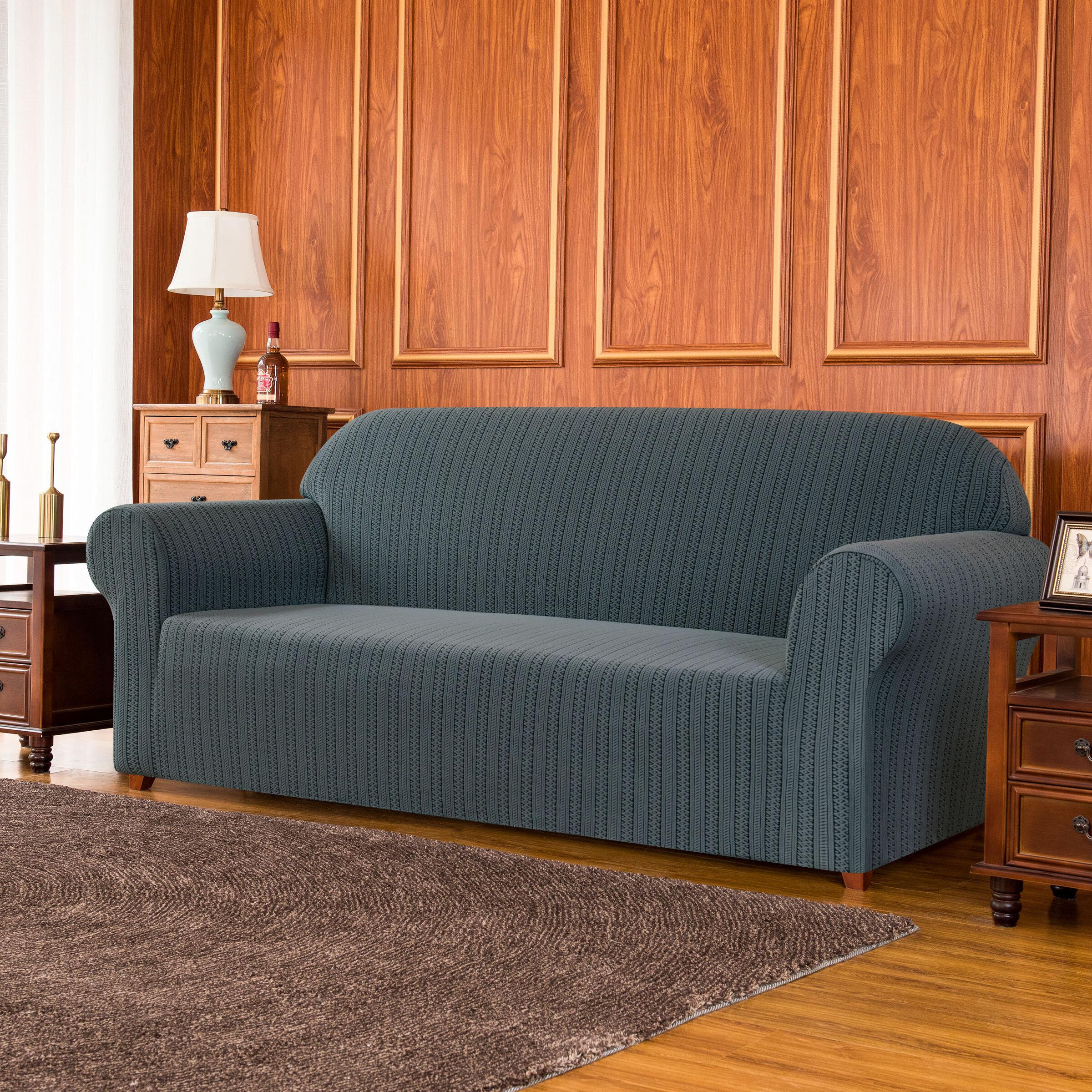 World Menagerie Striped Jacquard Box Cushion Loveseat Slipcover Wayfair Co Uk