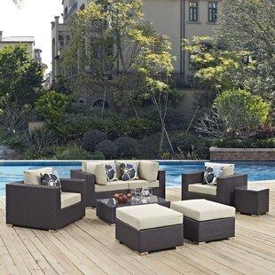 Latitude Run Ryele 8 Piece Rattan Sectional Set with Cushions