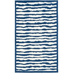 Best Claro Striped Ivory / Blue Rug By Harriet Bee