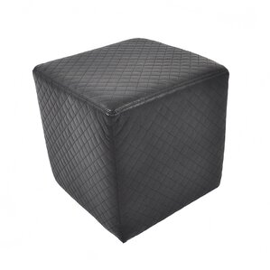 Quilted Leather Cube Ottoman by Found Object