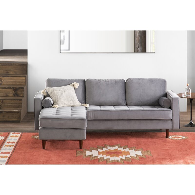 Allmodern 84 Wide Velvet Reversible Sofa Chaise Reviews Wayfair