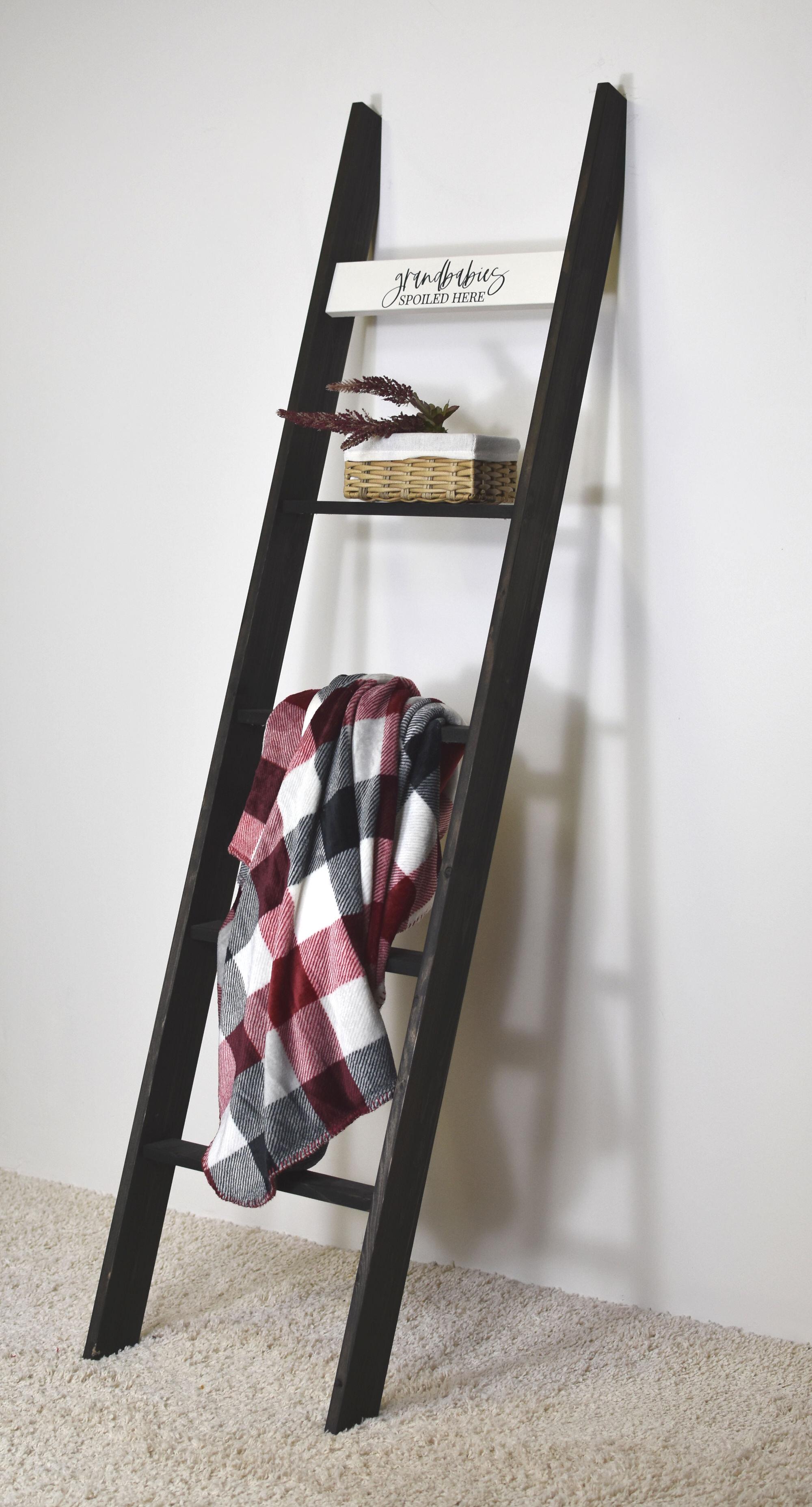 Gracie Oaks 20Ft Dark Brown Country Chic Decorative Blanket Ladder ...