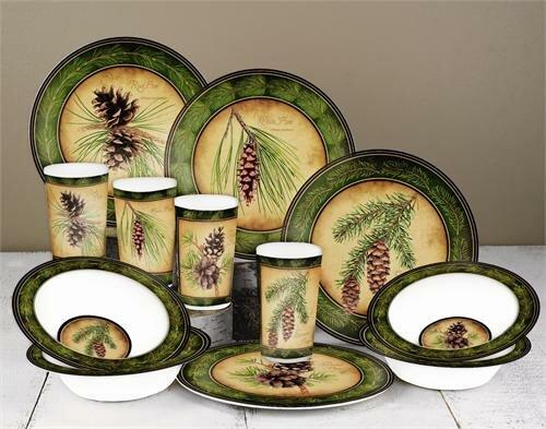 Pinecone Melamine 12 Piece Dinnerware Set Service for 4 & MotorHead Products Pinecone Melamine 12 Piece Dinnerware Set ...