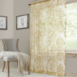 Grenz Damask Sheer Rod Pocket Single Curtain Panel by Fleur De Lis Living