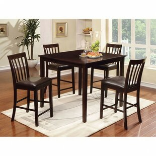 Felker 5 Piece Counter Height Solid Wood Dining Set DarHome Co